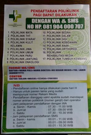 Pendaftaran Poliklinik Pagi di RSUD PANEMBAHAN SENOPATI BANTUL Dapat Dilakukan Dengan WA & SMS