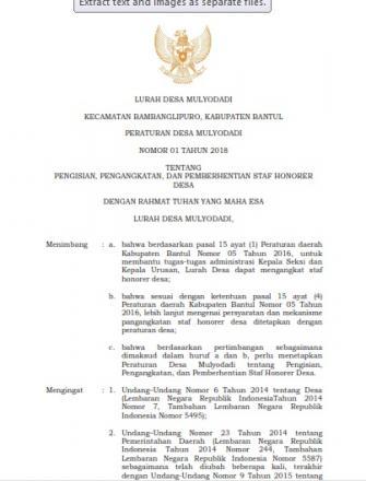 PERDES NO. 01 TAHUN 2018 TENTANG PENGISIAN, PENGANGKATAN DAN PEMBERHENTIAN STAF HONORER DESA